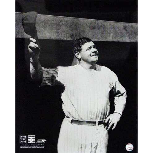 """New York Yankees Babe Ruth Tip Cap at Dugout Signed 16"""" x 20"""" Photo"""