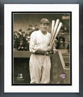 New York Yankees Babe Ruth With 3 bats Framed Photo