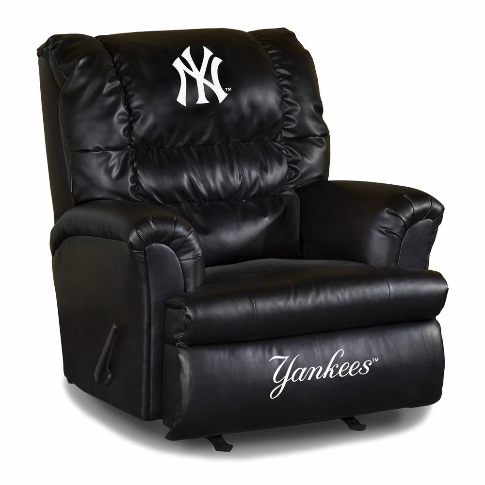 The Big Fan In The House Needs The New York Yankees Big Daddy Leather  Recliner! This Contemporary Black Leather Chair Features Official Team  Logos ...