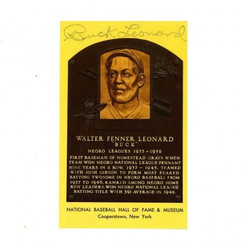 New York Yankees Buck Leonard Signed Hall of Fame Plaque Postcard