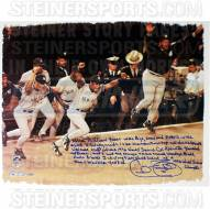 New York Yankees Cecil Fielder Signed Celebrating WS Win 22 x 26 Story Canvas