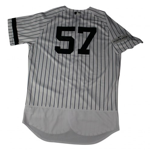 New York Yankees Chad Green Signed 2017 Game-Issued #57 Home Postseason Jersey