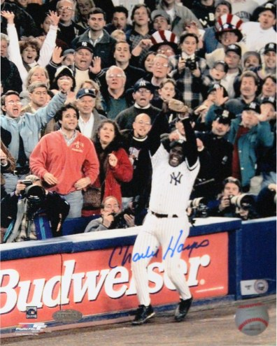 New York Yankees Charlie Hayes Signed 1996 WS Final Out Signed 8 x 10 Photo