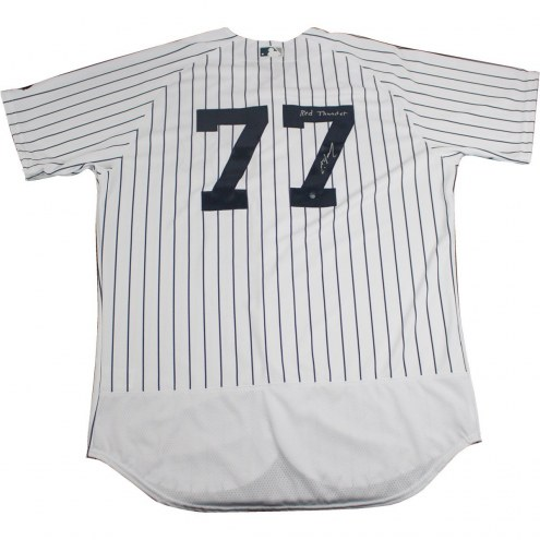 New York Yankees Clint Frazier Signed Authentic Flex Base Pinstripe Jersey w/ Red Thunder