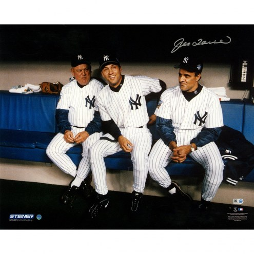 New York Yankees Derek Jeter Don Zimmer Joe Torre Sitting in Dugout 16 x 20 photo Signed by Joe Torre
