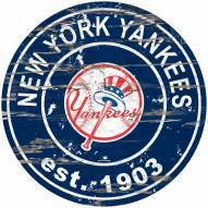 New York Yankees Distressed Round Sign
