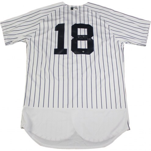 New York Yankees Don Larsen Signed Authentic Flex Base Home Pinstripe Jersey w/ WS PG 10-8-56