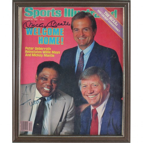 New York Yankees Mickey Mantle and Willie Mays Dual Signed Framed 1986 Sports Illustrated Magazine