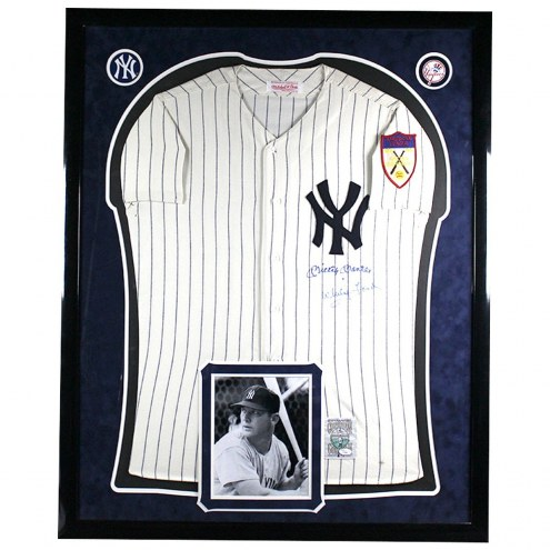 New York Yankees Mickey Mantle and Whitey Ford Dual Signed Mitchell and Ness Jersey Elite Framed