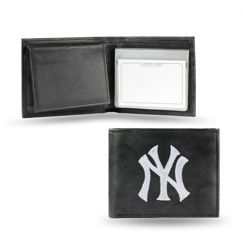 New York Yankees Embroidered Leather Billfold Wallet