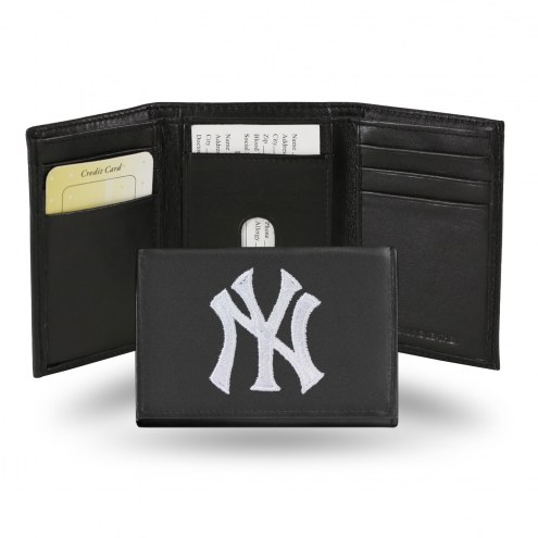 New York Yankees Embroidered Leather Tri-Fold Wallet
