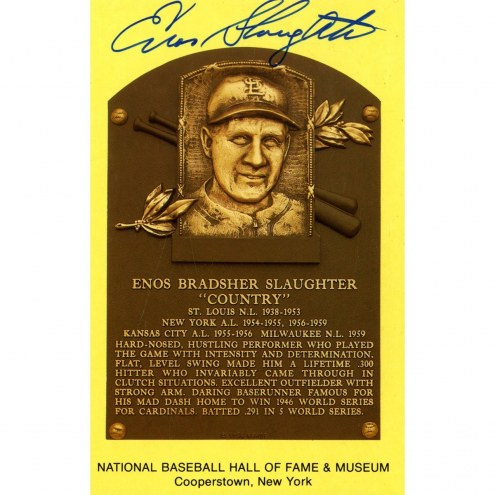 New York Yankees Enos Slaughter Signed HOF Plaque Postcard
