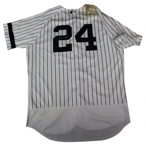 New York Yankees Gary Sanchez Signed 2017 ALDS Game Used #24 Pinstripe Jersey