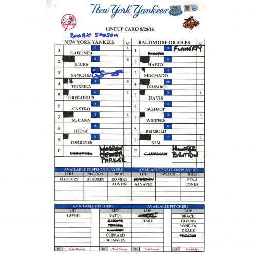 "New York Yankees Gary Sanchez Signed Orioles at Yankees 8-28-2016 Game Used Lineup Card w/ ""Rookie Season"""