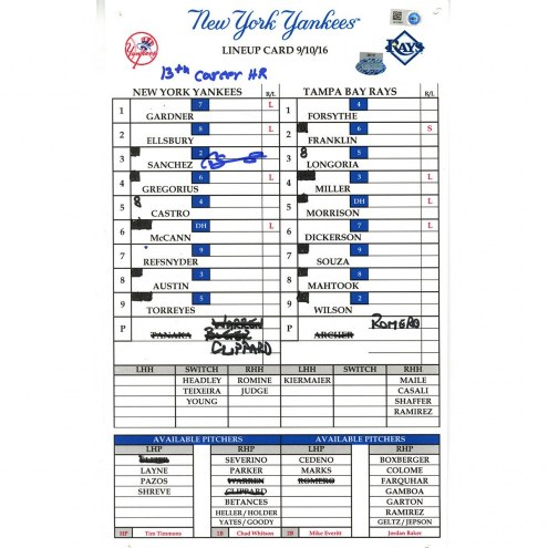 "New York Yankees Gary Sanchez Signed Rays at Yankees 9-10-2016 Game Used Lineup Card w/ ""13th Career HR"""