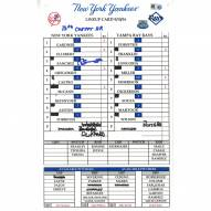 """New York Yankees Gary Sanchez Signed Rays at Yankees 9-10-2016 Game Used Lineup Card w/ """"13th Career HR"""""""