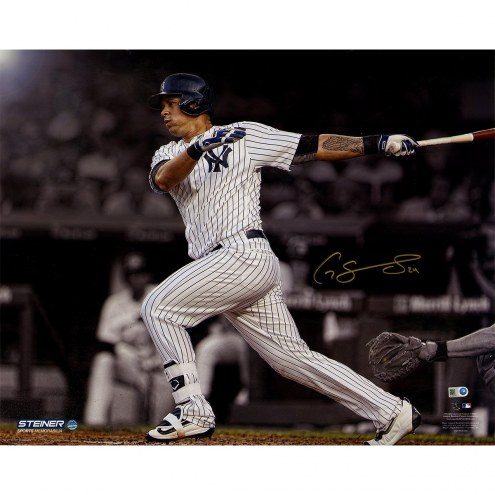 New York Yankees Gary Sanchez Signed Swinging 16 x 20 Metallic Photo