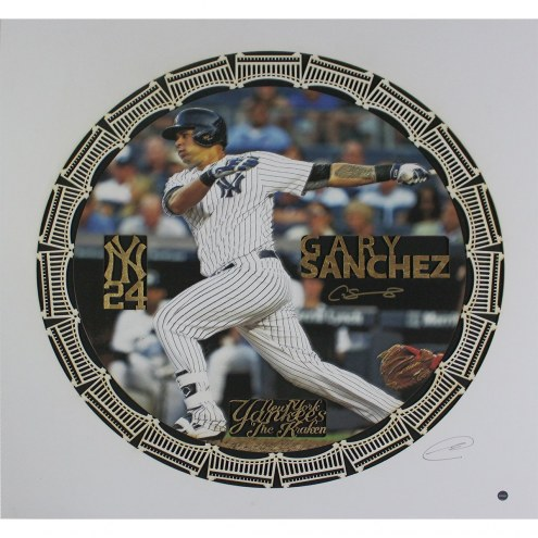 New York Yankees Gary Sanchez Signed Swinging 20 x 20 Black Background Grubard Designs Print