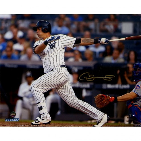 New York Yankees Gary Sanchez Signed Swinging 8 x 10 Color Metallic Photo