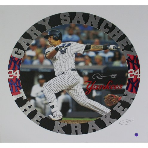 New York Yankees Gary Sanchez Signed Swinging 16 x 16 Black and Red Background Grubard Designs Print