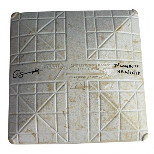 New York Yankees Gary Sanchez Signed Twins at Yankees 4-26-2018 Game Used Third Base (Innings 6-9) w/ 1st Walkoff HR 4/26/18