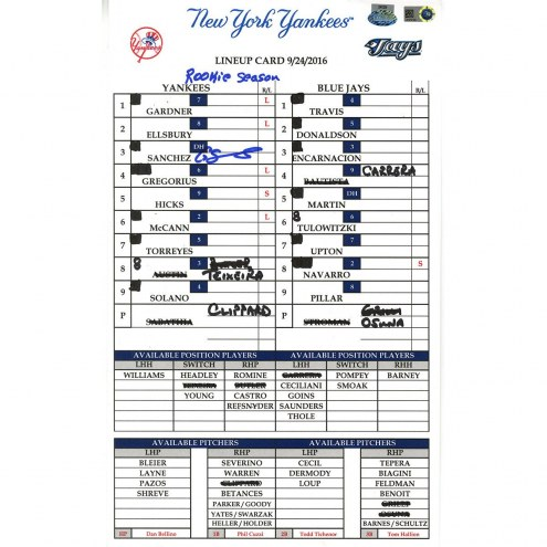 """New York Yankees Gary Sanchez Signed Yankees at Blue Jays 9-24-2016 Game Used Lineup Card  w/ """"Rookie Season"""""""