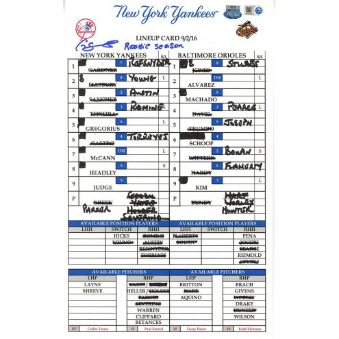 "New York Yankees Gary Sanchez Signed Yankees at Orioles 9-2-2016 Game Used Lineup Card w/ ""Rookie Season"""