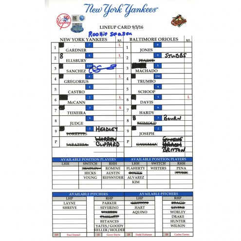 "New York Yankees Gary Sanchez Signed Yankees at Orioles 9-3-2016 Game Used Lineup Card w/ ""Rookie Season"""