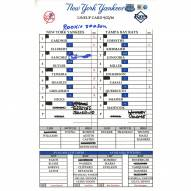"""New York Yankees Gary Sanchez Signed Yankees at Rays 9-22-2016 Game Used Lineup Card  w/ """"Rookie Season"""""""