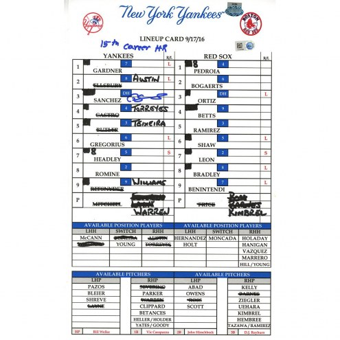 "New York Yankees Gary Sanchez Signed Yankees at Red Sox 9-17-2016 Game Used Lineup Card w/ ""15th Career HR"""
