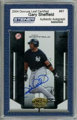 New York Yankees Gary Sheffield Signed 2004 Donruss Card Leaf Cert. 2004
