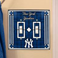 New York Yankees Glass Double Switch Plate Cover