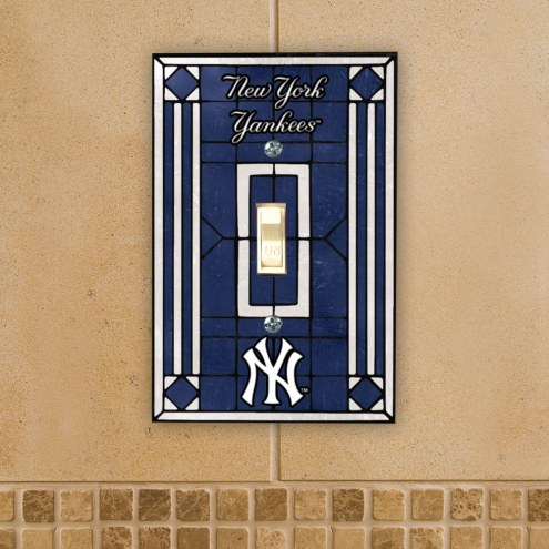 New York Yankees Glass Single Light Switch Plate Cover