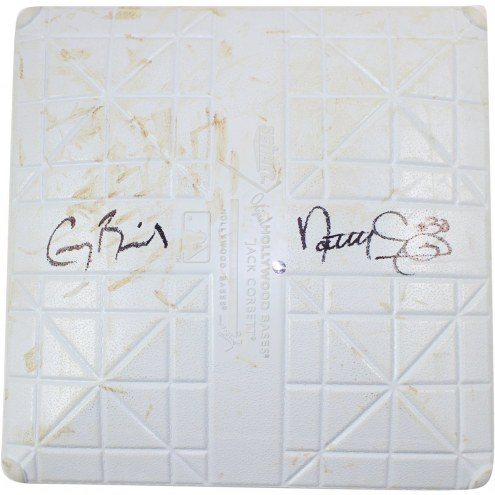 New York Yankees Greg Bird & Nathan Eovaldi Signed Twins at Yankees 8-19-2015 Game Used First Base