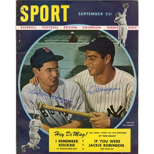 New York Yankees Joe and Dom Dimaggio Dual Signed September Sport Magazine
