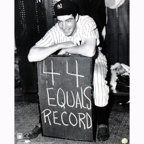 "New York Yankees Joe DiMaggio Holding 44 Equals Record Sign in Locker Room 16"" x 20"" Photo"
