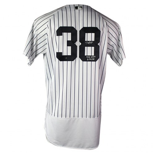 New York Yankees Jonathan Loaisiga Signed 2018 Home Game Used #38 Pinstripe Jersey w/ MLB Debut 6/15/18