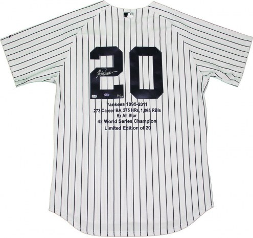 New York Yankees Jorge Posada Signed Authentic Home Jersey w/ Embroidered Stats
