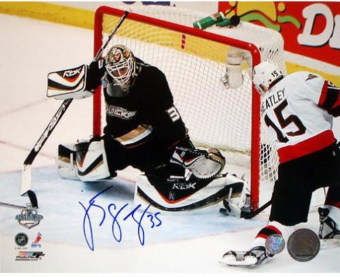 New York Yankees J.S. Giguere 2007 Finals Save vs Heatley Signed 8 x 10