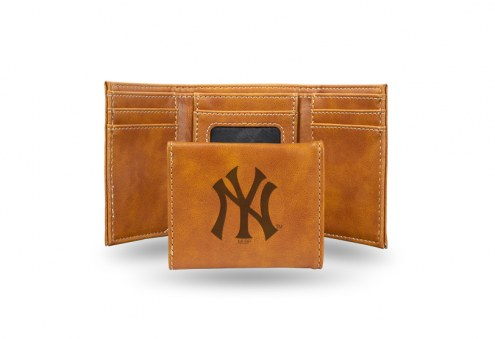 New York Yankees Laser Engraved Brown Trifold Wallet