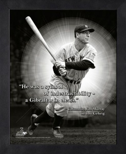 New York Yankees Lou Gehrig Framed Pro Quote