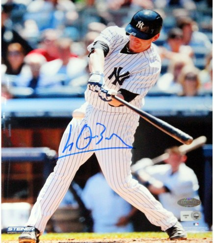 New York Yankees Lyle Overbay Pinstripe Jersey Hitting Ball Vertical Signed 8 x 10 Photo