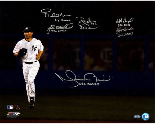 "New York Yankees Mariano Rivera 300+ Save Closers (6 Signatures) Signed 16"" x 20"" Photo"