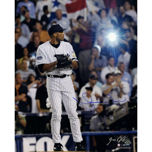 New York Yankees Mariano Rivera Signed 2008 Pinstripe Jersey Pitching Vertical 16 x 20 Photo