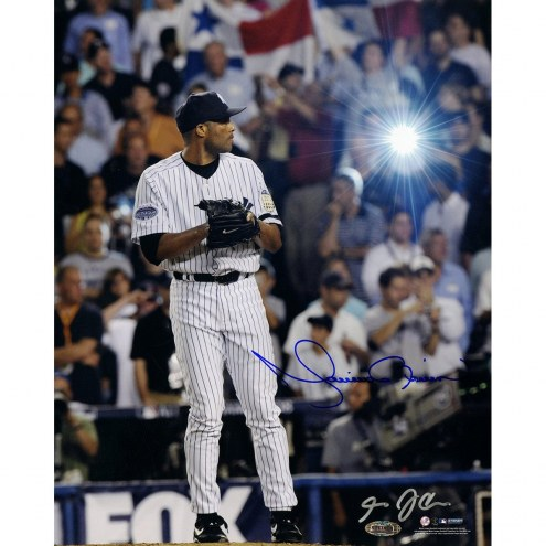 New York Yankees Mariano Rivera Signed 2008 Pinstripe Jersey Pitching Vertical 11 x 14 Photo