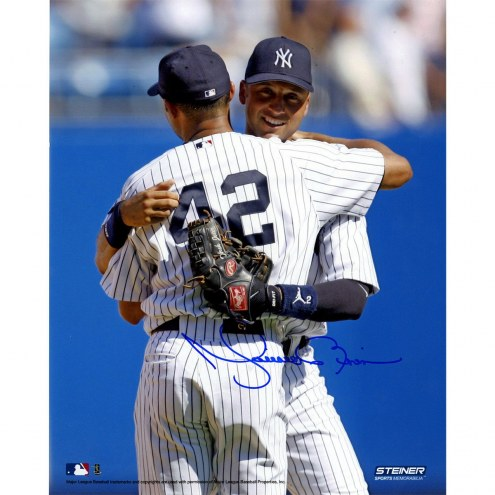 New York Yankees Mariano Rivera Signed on Mound Hugging Derek Jeter Vertical 8 x 10 Photo