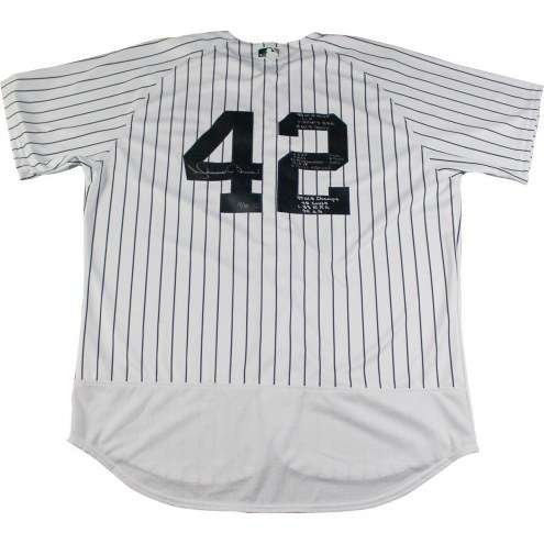 New York Yankees Mariano Rivera Signed and Multi-Inscribed World Series Stats Edition Authentic Jersey
