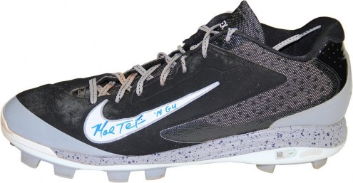 New York Yankees Mark Teixeira Signed 2014 Game Used Black and Grey w/ Speckle Rubber Cleat