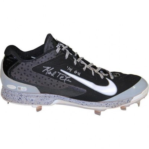 New York Yankees Mark Teixeira Signed 2014 Game Used Black and White w/ Speckle Metal Cleat