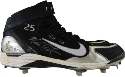 New York Yankees Mark Teixeira Signed 2014 Game Used Black/Gray/White Cleat Pair w/ GU 10